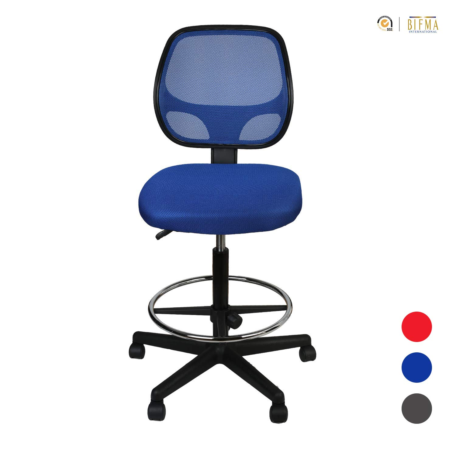 LUCKWIND Office Drafting Chair Mesh - Armless Task Ergonomic Lumbar Support MidBack Computer Desk Chair Adjustable Stool Swivel Chair with Adjustable Chrome Foot Rest (SGS-BIFMA 21-27'' Blue) for Prime by Sundux