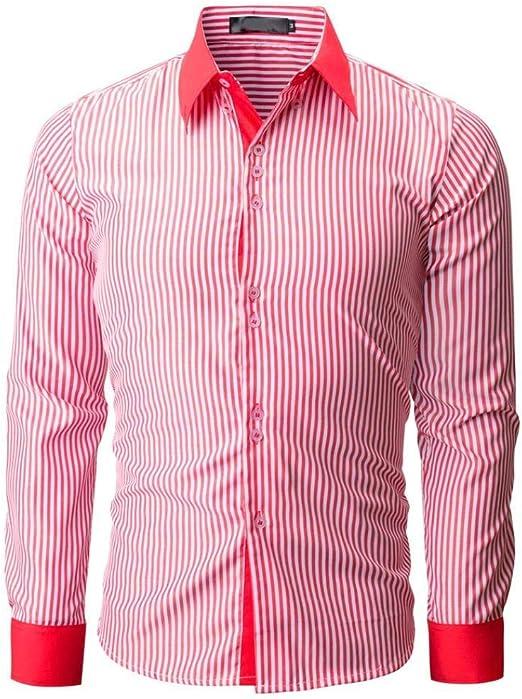 Qiusa Camisa para Hombre Top de Manga Larga Casual Rosa roja ...