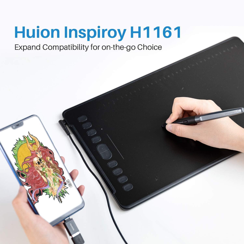HUION H1161 Tablettes Graphiques OTG Utilisables 11 x 6,8 Pouces avec Pression du Stylo 8192 sans Batterie Compatible avec Mac 10 Touches Express et Touch Strip