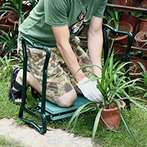 SoB Upgraded Folding Garden Kneeler and Seat with Soft Eva Pad Seat with Stool Chair Pouch Home Gardening Supplies Garden Home Kneeler Seat Pad, Ideal Gifts