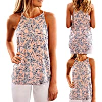 Putars Yoga Top Mujer Verano Chaleco Floral Camisa sin Mangas Blusa Casual Tank Top