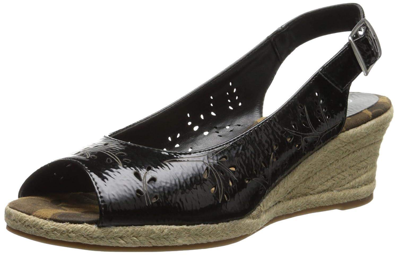 Easy Street Women's Sedona Wedge Sandal B00NTND0TS 10 WW US|Black
