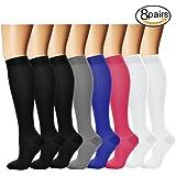 Compression Socks,(8 pairs) Compression Sock for Women & Men - Best For Running, Athletic Sports, Crossfit, Flight Travel - Suits Nurses, Maternity Pregnancy, Shin Splints.