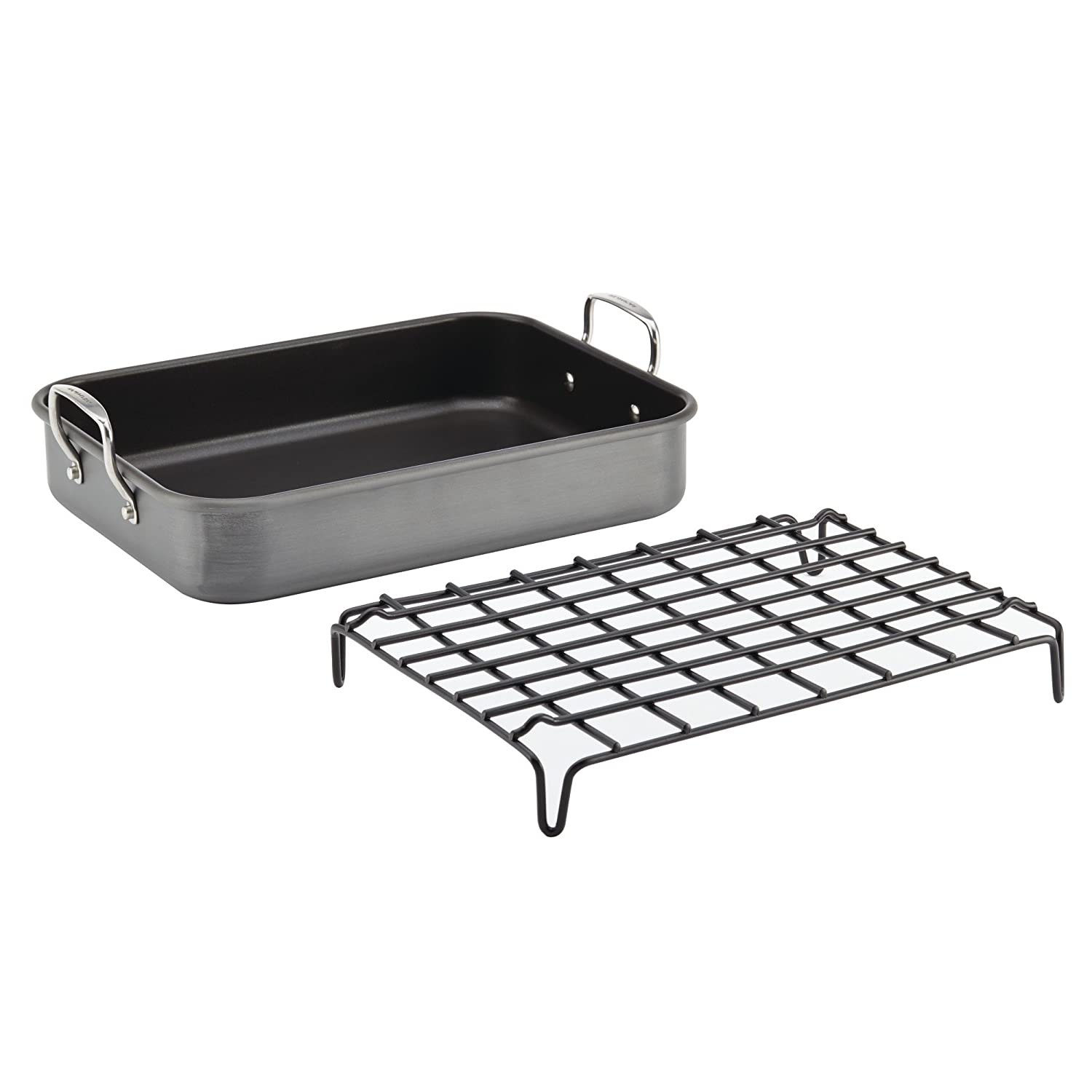 Rachael Ray Hard-Anodized Nonstick Bakeware 16-Inch by 12-Inch Roaster with Dual-Height Rack, Gray, Medium – 87657