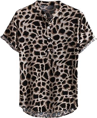 ACEBABY Camisa Hawaiana Hombre Moda Original Impresión de Leopardo Camisa Suelta Informal Manga Corta Adecuado para Vacaciones de Verano en la Playa Fiestas: Amazon.es: Ropa y accesorios