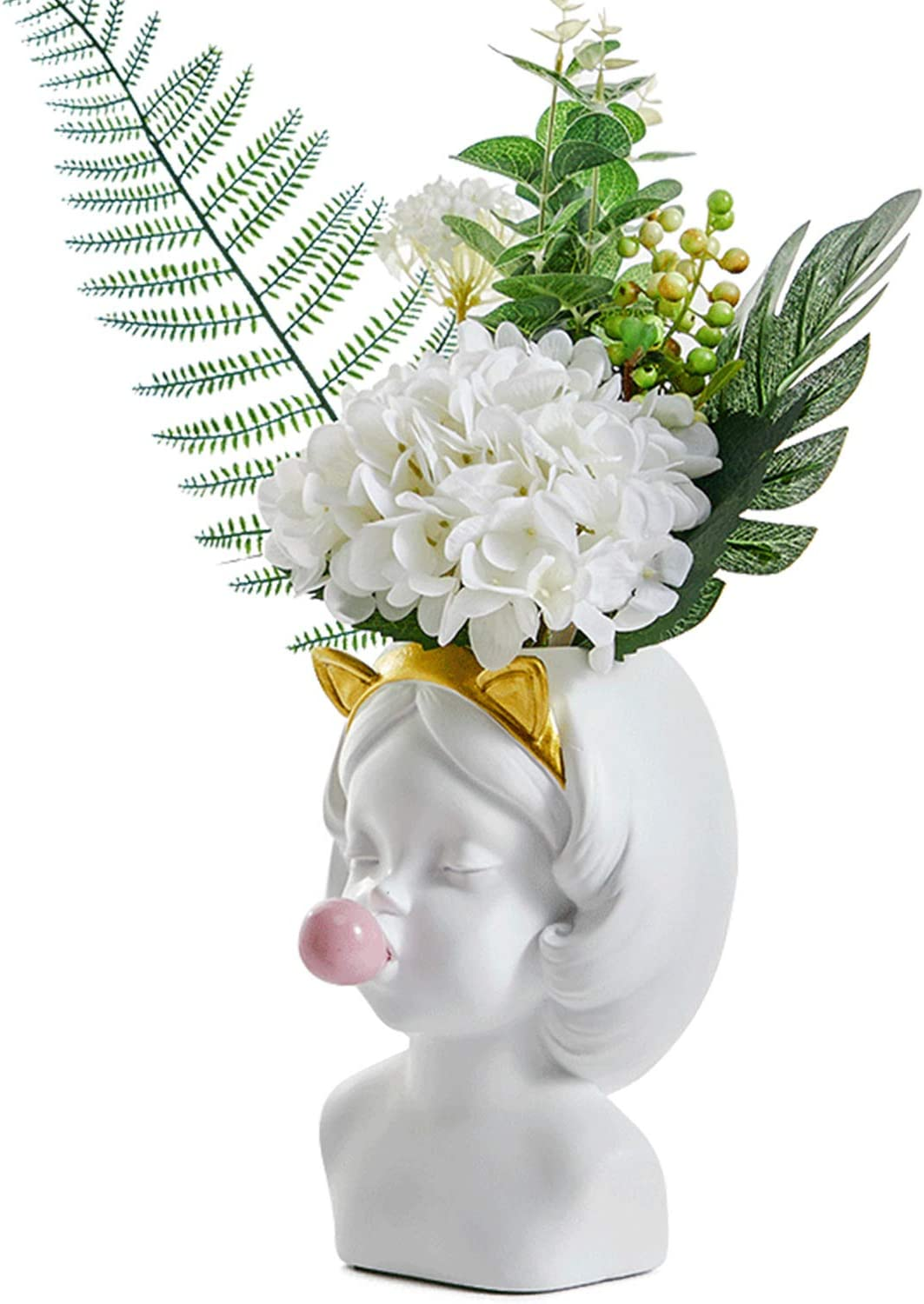 8.9inch Large Size White Resin Blowing Bubbles Girl Cute Creative Vase Decoration Ornaments Flowers Bottle Pot Dry Vase for Decor Home Living Room Table Art Statue (Cat)