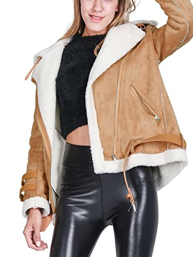 Simplee Apparel Solapa con cremallera mujer piel faux shearling biker jacket Outwear Overd Aviator Coat