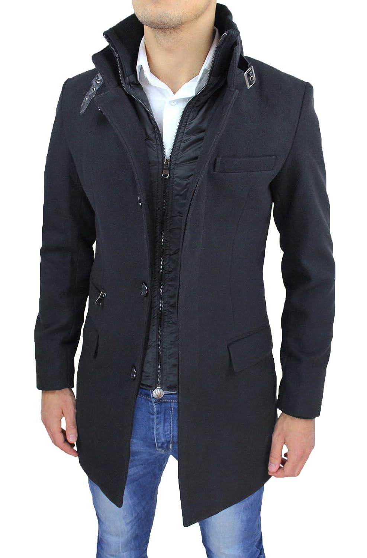 Cappotto Uomo Nero Sartoriale Casual Elegante Slim Fit Giaccone Soprabito  Invernale con Gilet Interno  Amazon.it  Abbigliamento 0b8fdb1e136
