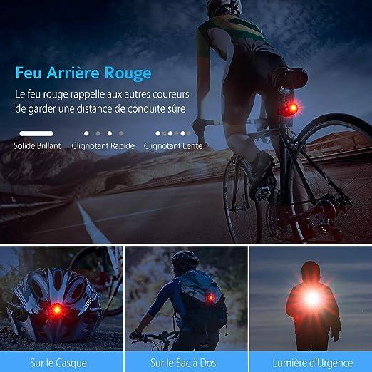 5 Mode d/Éclairage Installation Facile pour V/élo TOPELEK Lampe V/élo Set Lumi/ère V/élo LED Puissante VTT Camping /Éclairage Avant 450LM Rechargeable 2000mAh et Feux Arri/ère Cyclisme IP65 /Étanche