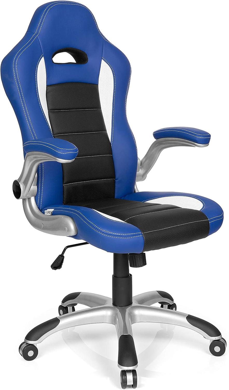 hjh OFFICE 621890 silla gaming GAME SPORT piel sintética azul / negro reposabrazos plegables silla de escritorio inclinable