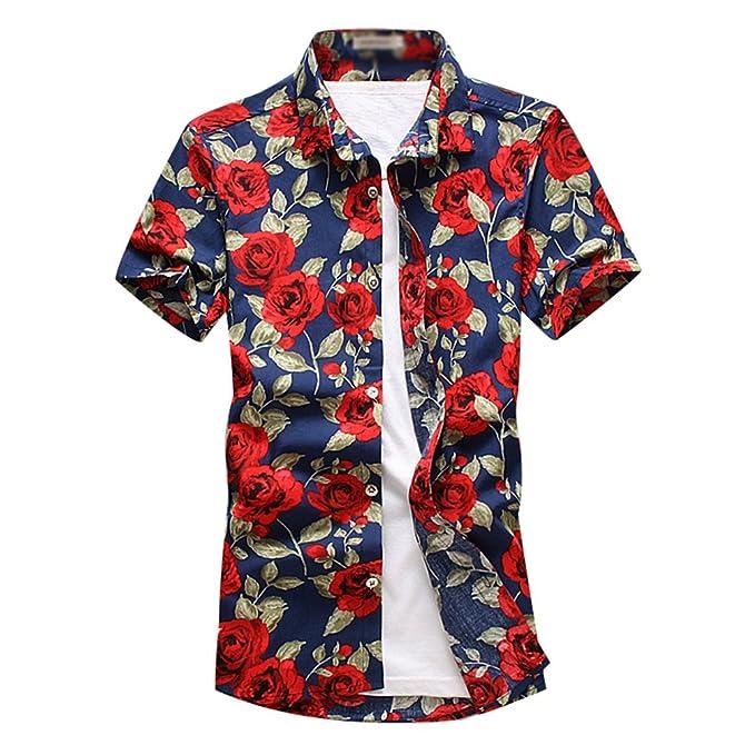 YuanDian Hombre Verano Casual Tallas Grandes Estampado Flores Manga Corta Camisas Hawaianas Playa Stretch Suaves Botón