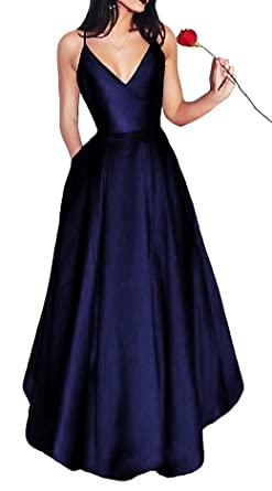 LovelyGirl Womens Elegant V Neck Prom Dresses 2018 Long Spaghetti Straps Satin Evening Party Dress with Pockets at Amazon Womens Clothing store: