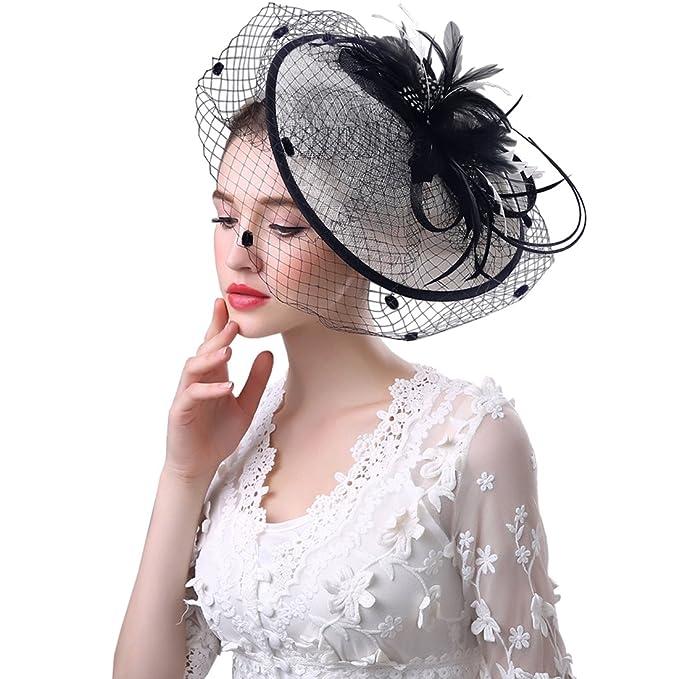 KAXIDY Cappelli Donna Fiore Piuma Sposa Matrimonio Decorazione Capelli  Cerimonia Cappelli Moda (Nero Bianco)  Amazon.it  Abbigliamento 5e181d42a770