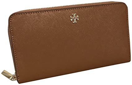 85cacdca9f Image Unavailable. Image not available for. Color: Tory Burch Emerson Zip  Continental Zip Around Wallet Brown