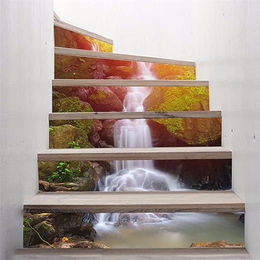 Pegatina de regalo para la decoración del hogar (bosque cascadas) escalera simple 3d publicado bricolaje pegatinas autoadhesivas impermeables (18x100cm*6pcs)-YU&XIN: Amazon.es: Hogar