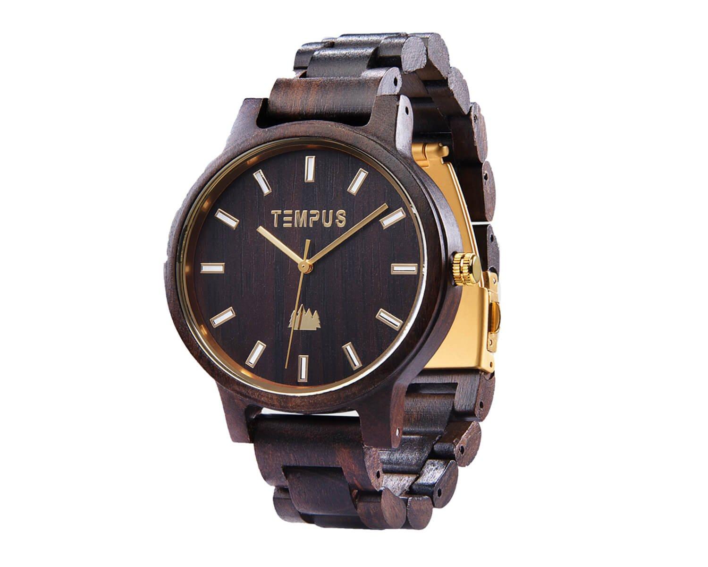 TEMPUS Classico - Black Sandalwood Men's Wood Watch Wooden Dress Watch Wristwatch - TWW-02 - Gift for Men