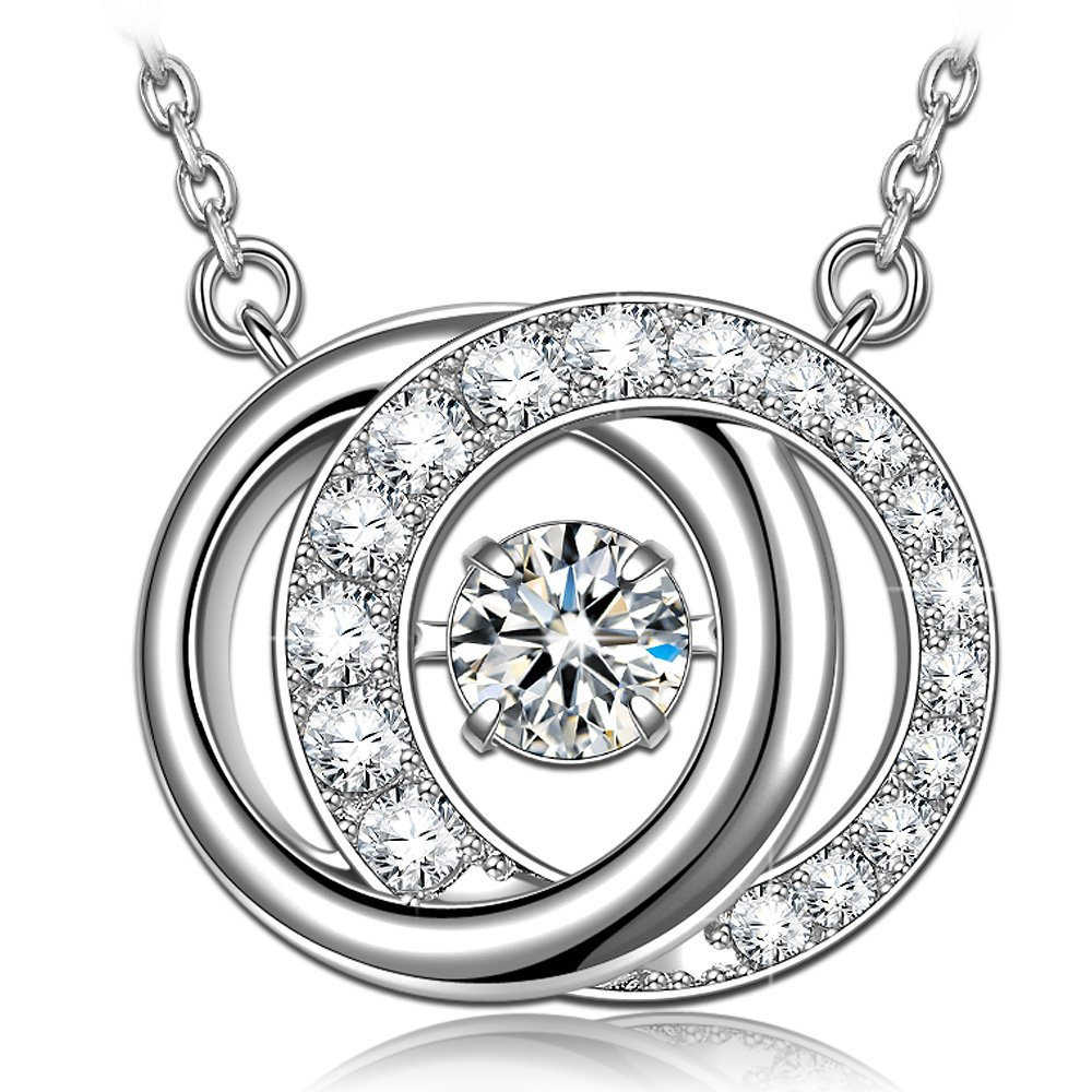 Necklace for Women 925 Sterling Silver Necklace for Mom Circle Necklace Pendant Swarovski Necklace Dancing Diamond Necklace Jewelry for Women Jewelry Necklaces