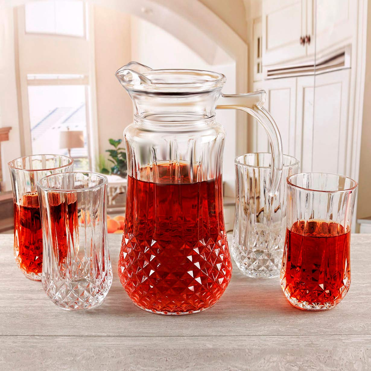 Circleware Elite Beverage Carafe Water Pitcher with Handle and Drinking Glasses, Kitchen Glassware for Water, Juice, Beer, Wine, Home Decor & Dining Gifts, 5 Piece Set of 1-59 oz, 4-12 oz, Clear