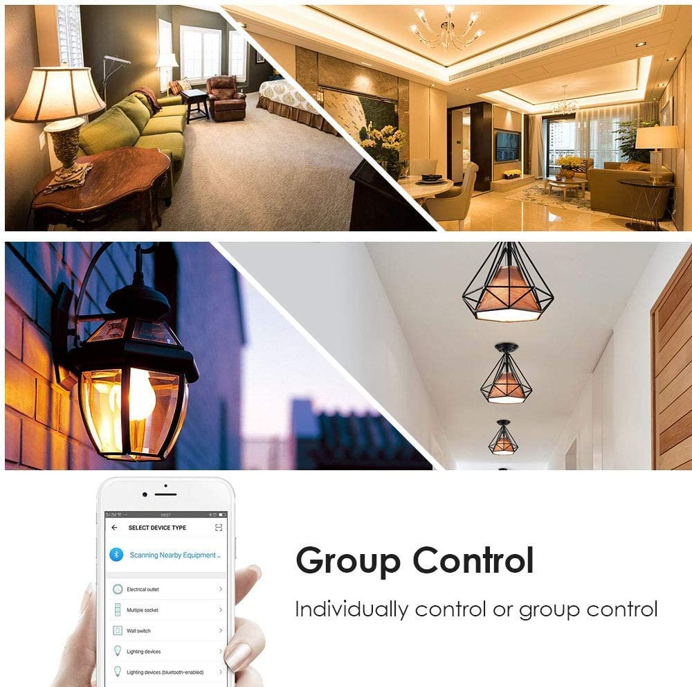 60w Equivalent Smart WiFi Light Bulb RGBW Dimmable Colors Changing E26 E27 Base 500 Lumens Remote Control Smart LED Bulbs No Hub Required Work with Alexa and Google Home Assistant 2 Packs
