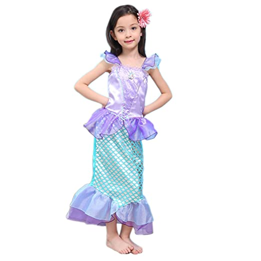 Newland Girlu0027s Kids Little Mermaid Princess Party Dress Costume (110CM(3-4Y)  sc 1 st  Amazon.com & Amazon.com: Newland Girlu0027s Kids Little Mermaid Princess Party Dress ...