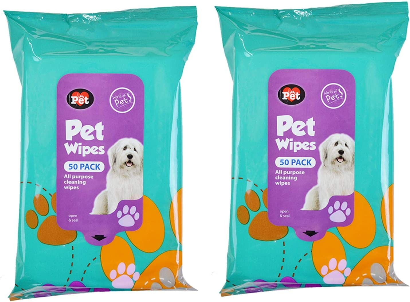 YoL 2x 50 Pack Dog Pet Cleaning Wipes All-Purpose Home Car Travel Multipack