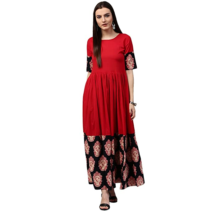 d81bc26a1 Nayo Women s Cotton Anarkali Kurti  Amazon.in  Clothing   Accessories