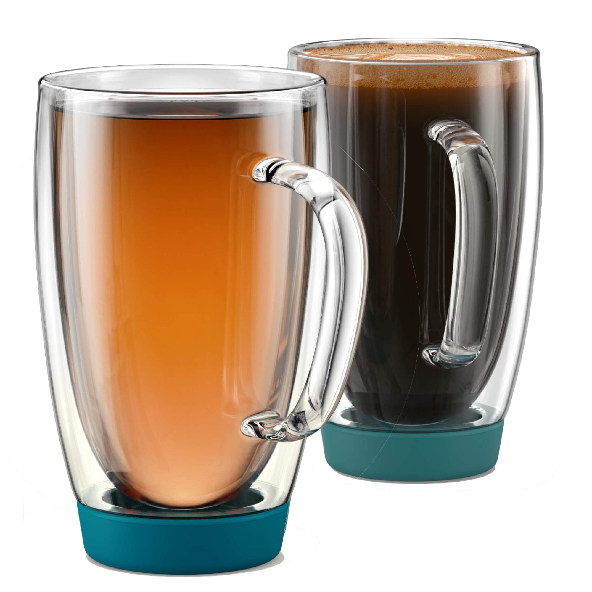 Stone & Mill Set of 2 Large Double Walled Insulated Non Slip Glass Coffee Mugs, Silicone Bottom, Thermo Glassware, Gift-boxed - AM-13-SB (Turquoise) 15 ounce