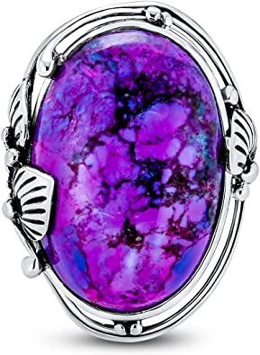 Purple Copper Turquoise Gemstone Ring Oval Cabochon Stone Ring 925-Antique Silver Ring,Sterling Silver Ring Middle Finger Ring L#-283732