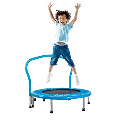 "MTFY 36"" Kids Trampoline with Handrail, Mini Toddler Trampoline w/Safety Padded Cover, Mini Foldable Bungee Rebounder Trampoline for Indoor Outdoor Cardio Exercise(Type-2, Blue 36'') : Sports & Outdoors"