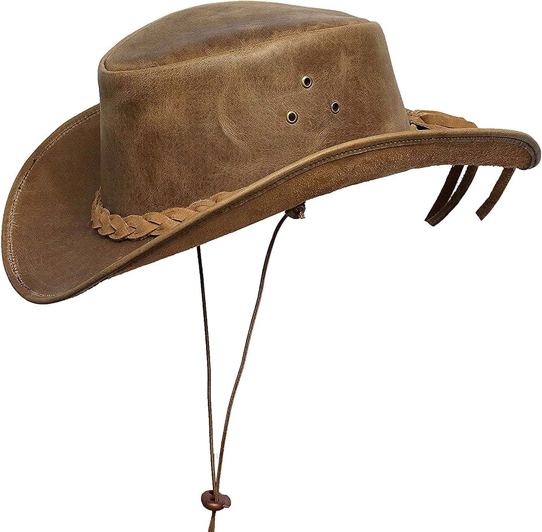 Brandslock Marcas de Bloqueo para Hombre Vintage Gran ala Vaquero Aussie Estilo Western Bush Hat con el cordón de Barbilla
