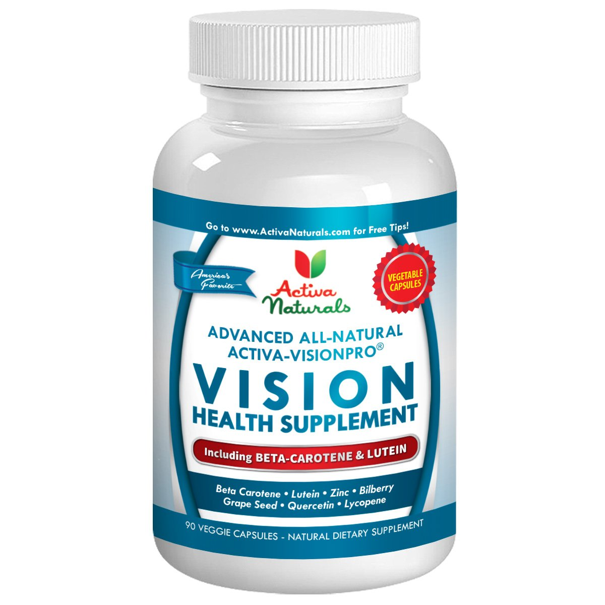 Beta Carotene Plus Blend Supplement with L-Taurine - 90 Veg. Capsules with Nutritional Eye Health Supplements
