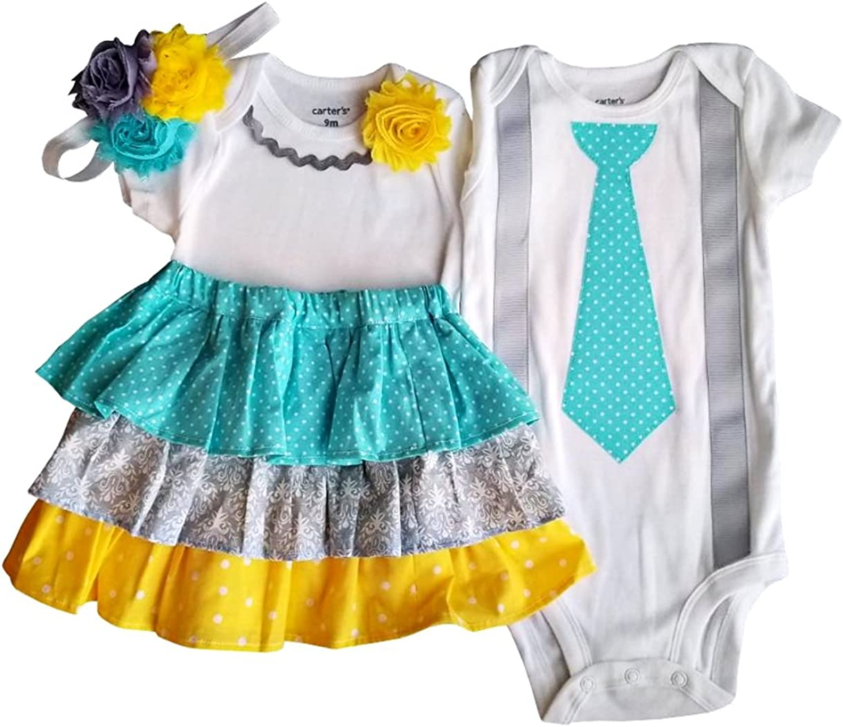 Twin Infant Baby Boy Girl Sister Brother Matching Shirt Short Pants Outfit Set
