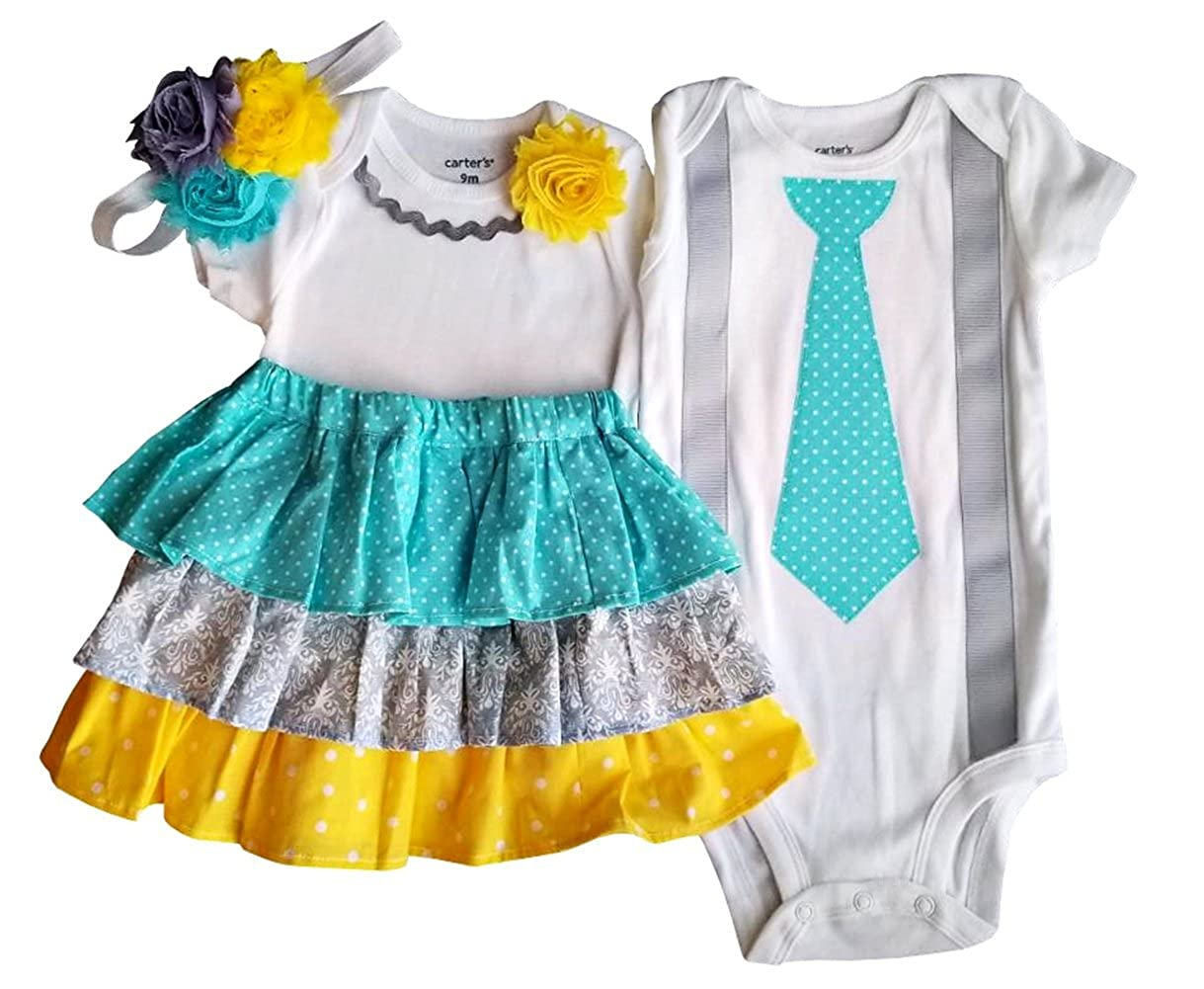 e84f57136 Amazon.com: Perfect Pairz Boy Girl Twin Outfits Grace and Grayson USA Made  Outfit: Clothing