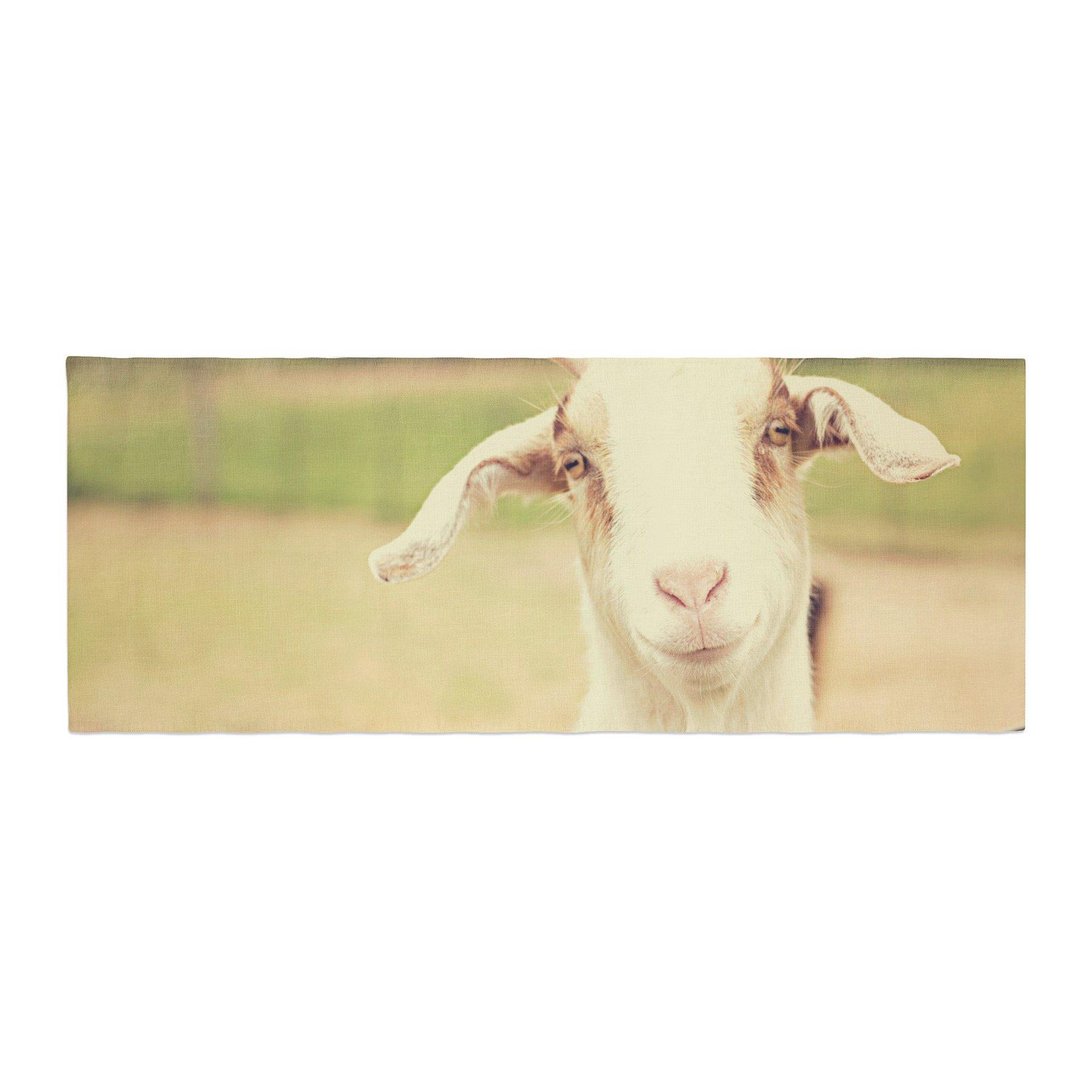 Kess InHouse Angie Turner Happy Goat Smiling Animal Bed Runner, 34'' x 86''