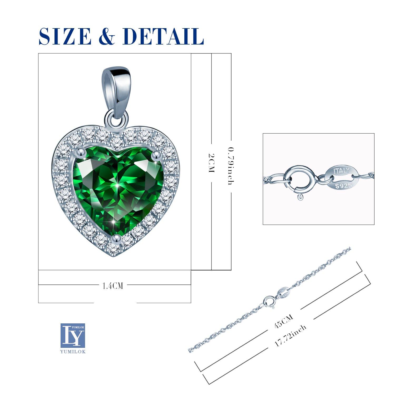 Yumilok Jewelry Collier d/émeraude en argent 925 et cristal synth/étique vert en forme de c/œur Collier c/œur orn/é zircon Cadeau No/ël Anniversaire pour femme fille