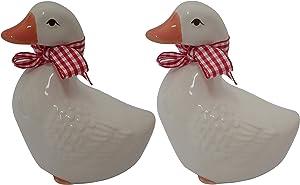 Magik Life White Ceramic Duck-Porcelain Duck Decor for Home- Ceramic Home Décor- Porcelain Figurines Decoration -Pink