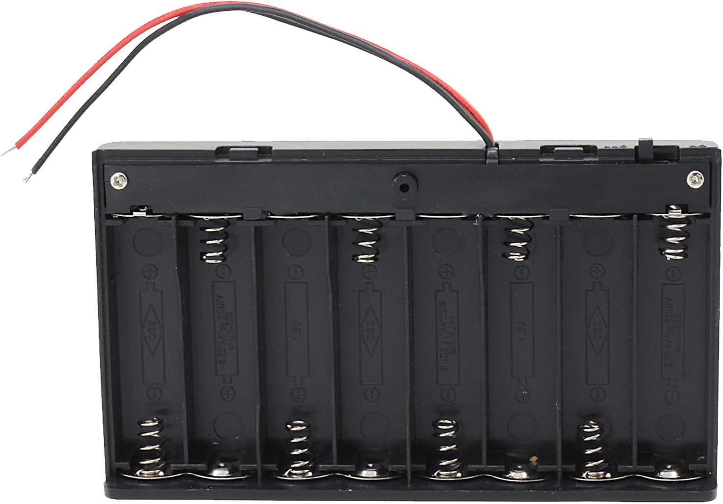 KEESIN AA 12V batería titular caso caja de almacenamiento de la batería de plástico con interruptor ON/OFF y cierre Cable Ties