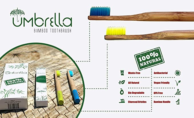 Cepillo de dientes de bambú natural ecológico (paquete de 4) de ...