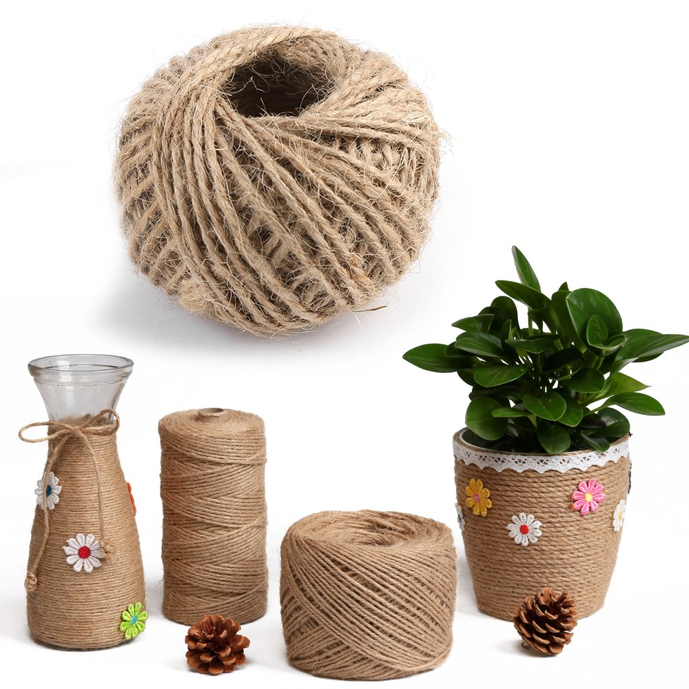 100 Feet Natural Jute Twine 2mm Hemp Cord Jute Rope String Gift Twine Industrial Packing Materials Arts Crafts Gardening (MPH033-1mmX100M) marwar