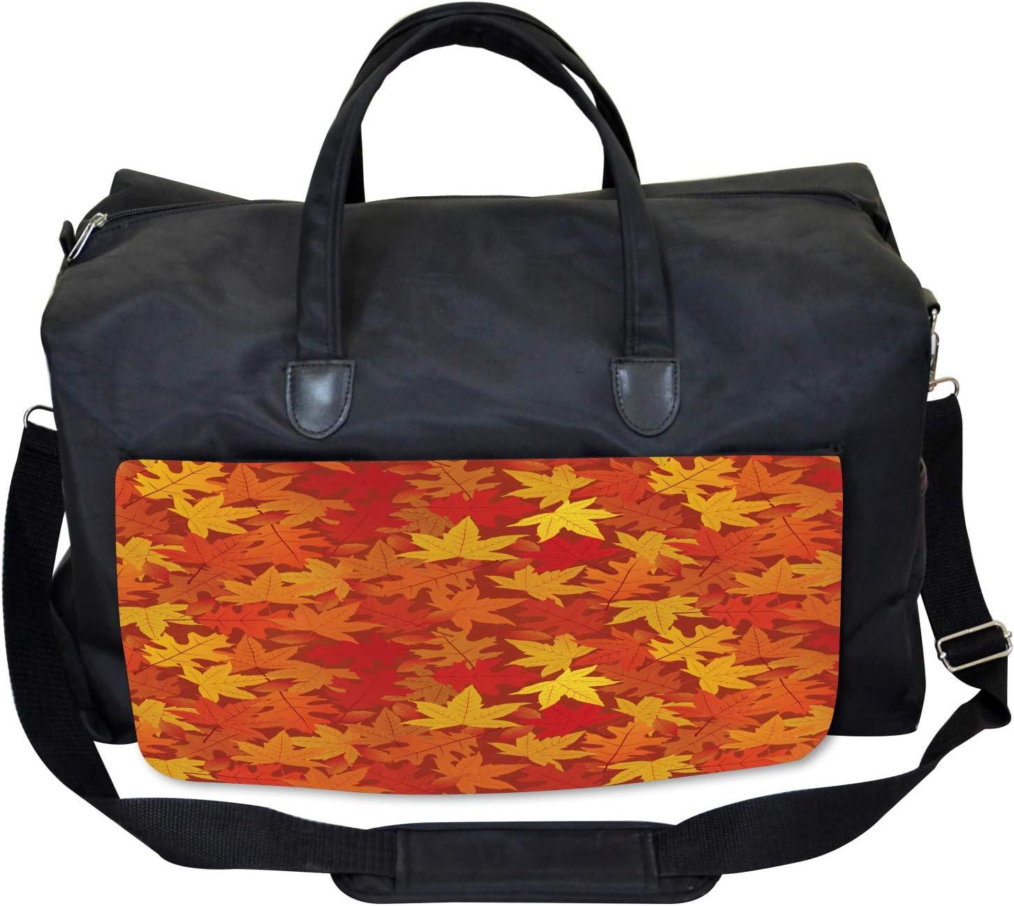 Nature Designs Artsy Large Weekender Carry-on Ambesonne Orange Gym Bag