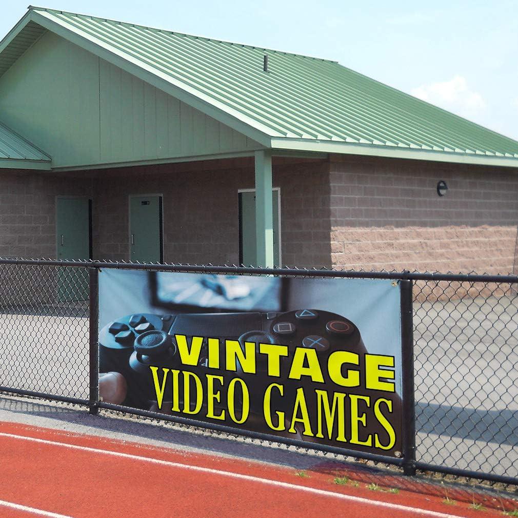 Multiple Sizes Available Vinyl Banner Sign Vintage Video Games Vintage Outdoor Marketing Advertising Black 6 Grommets 32inx80in Set of 2