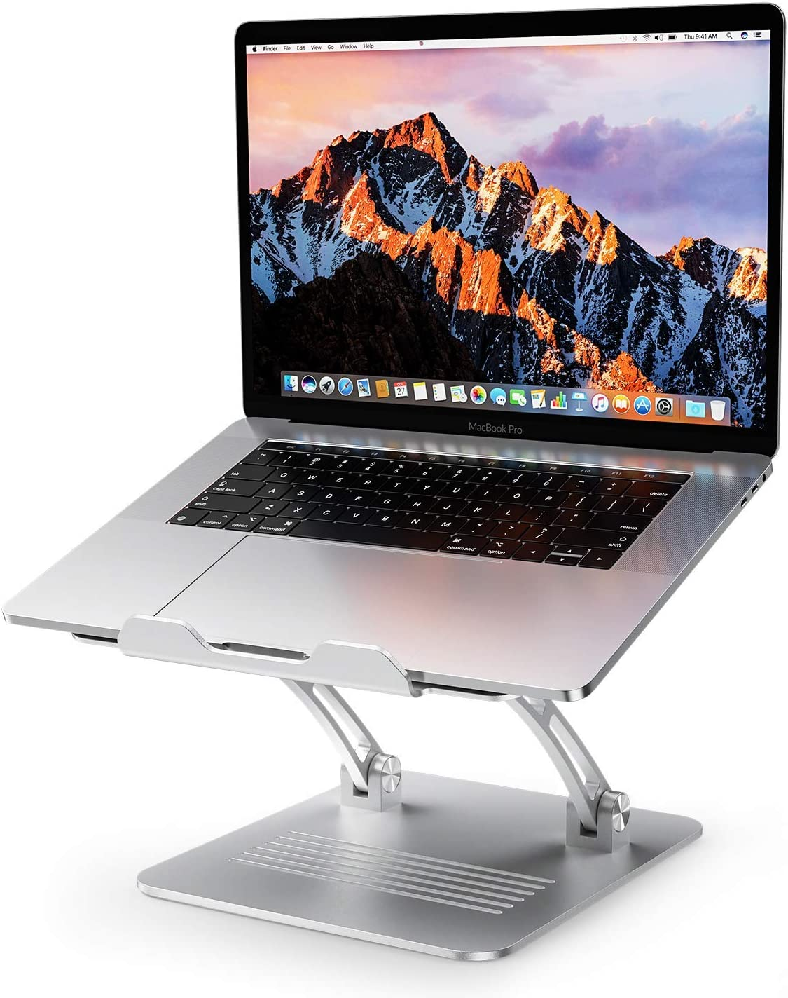 "Laptop Stand Adjustable, OMOTON Ergonomic Aluminum Computer Holder with Cooling Function and Laptop Riser Clamp for USB-C Hub, Compatible with MacBook Pro/Air, All Laptops of 11-17.3"", Silver"