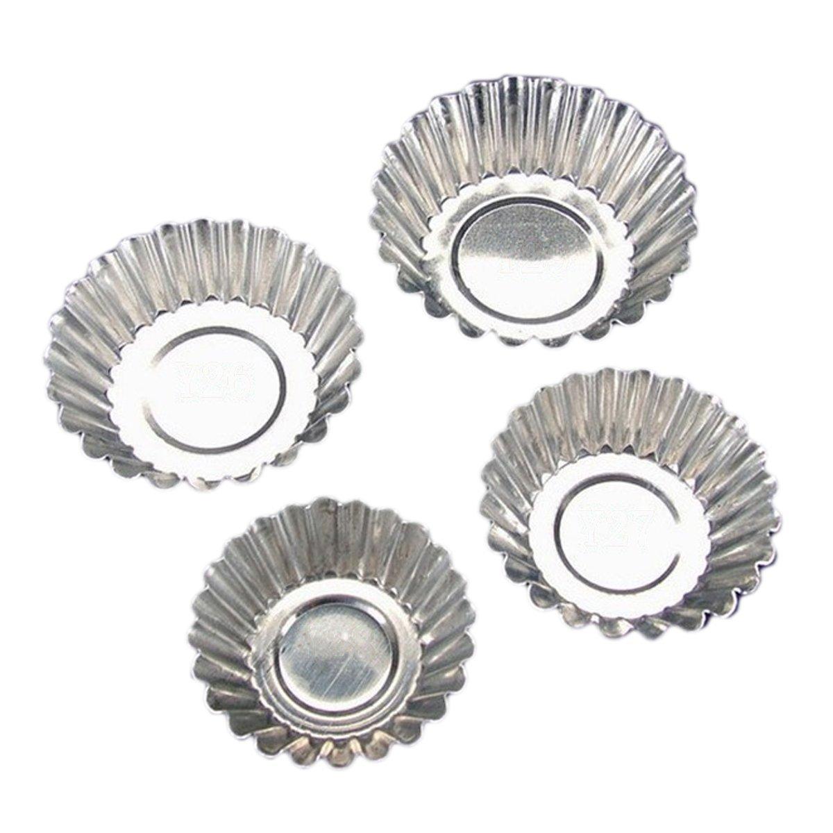Ssowun Barquettes Aluminium Alimentaires 50 Pièces,Fletion Jetable Œufs à Tarte Tartelettes Moules pour Caissette à Cupcakes Muffins Mini Gâteaux 5.5/6/6.5/7cm