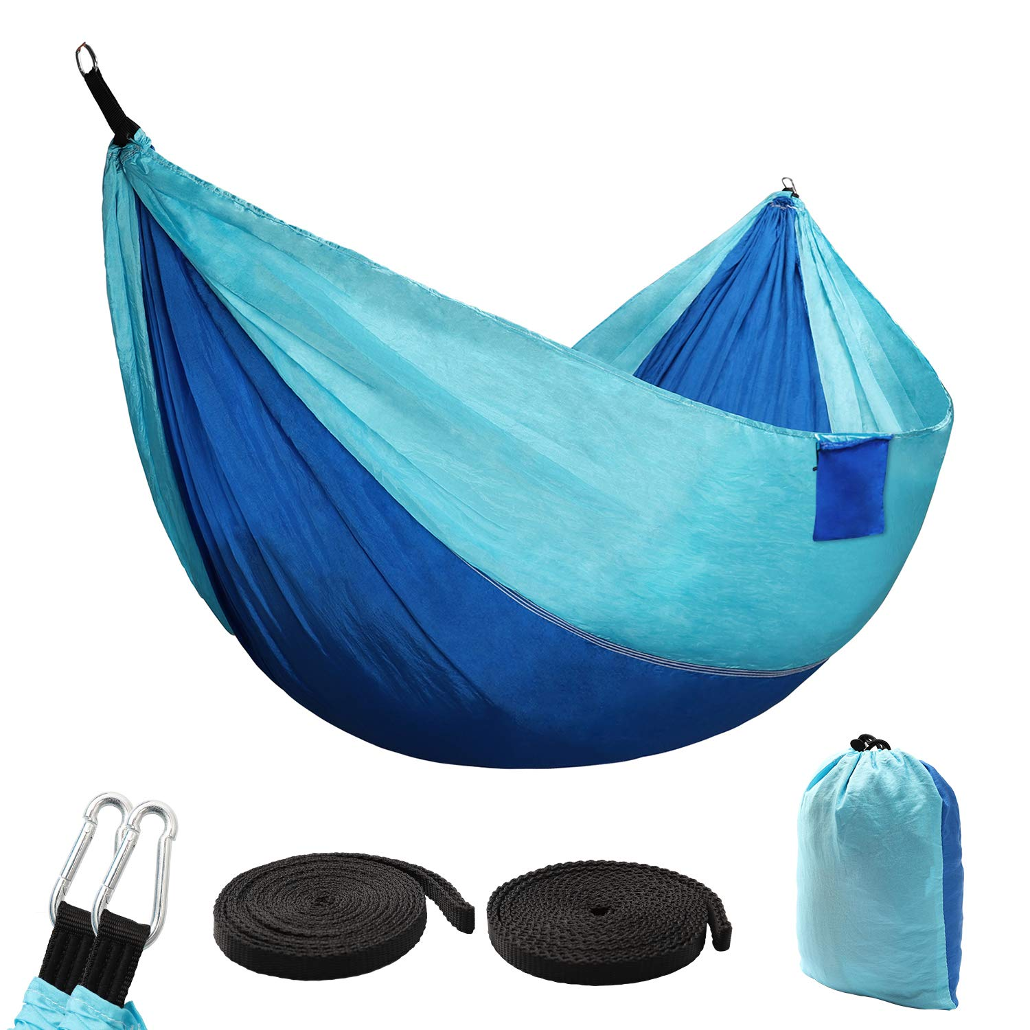 Camping Hammock Single Double- Portable Indoor Outdoor Tree Hammock with 2 Hanging Straps, Lightweight Nylon Best Parachute Hammocks for Backpacking, Travel, Beach, Backyard, Hiking