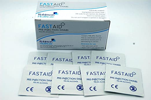Fastaid 70% IPA Alcohol toallitas para electrónica, Hisopos, tatuaje, pre-inyección