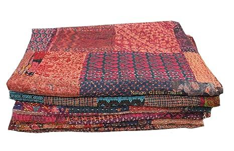 Amazon.com: Mango Gifts Indian Sari - Colcha de algodón 100 ...