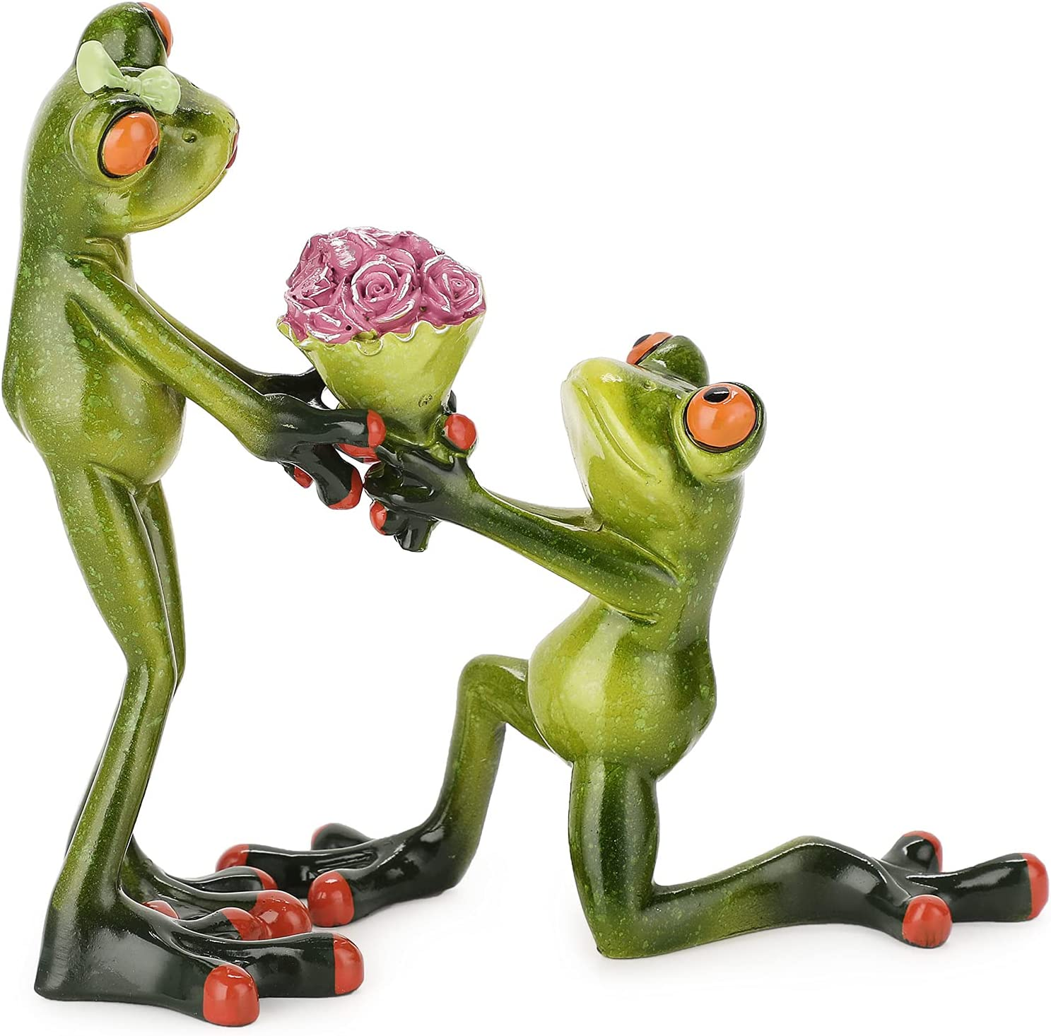 JuxYes Creative Craft Resin Frog Figurine Decor, Marry Me Lover Frog Valentine Frog Sculpture Statue, Personalized Animal Collectible Figurines Mascot Frog Resin Crafts for Shelves Table Desk Decor