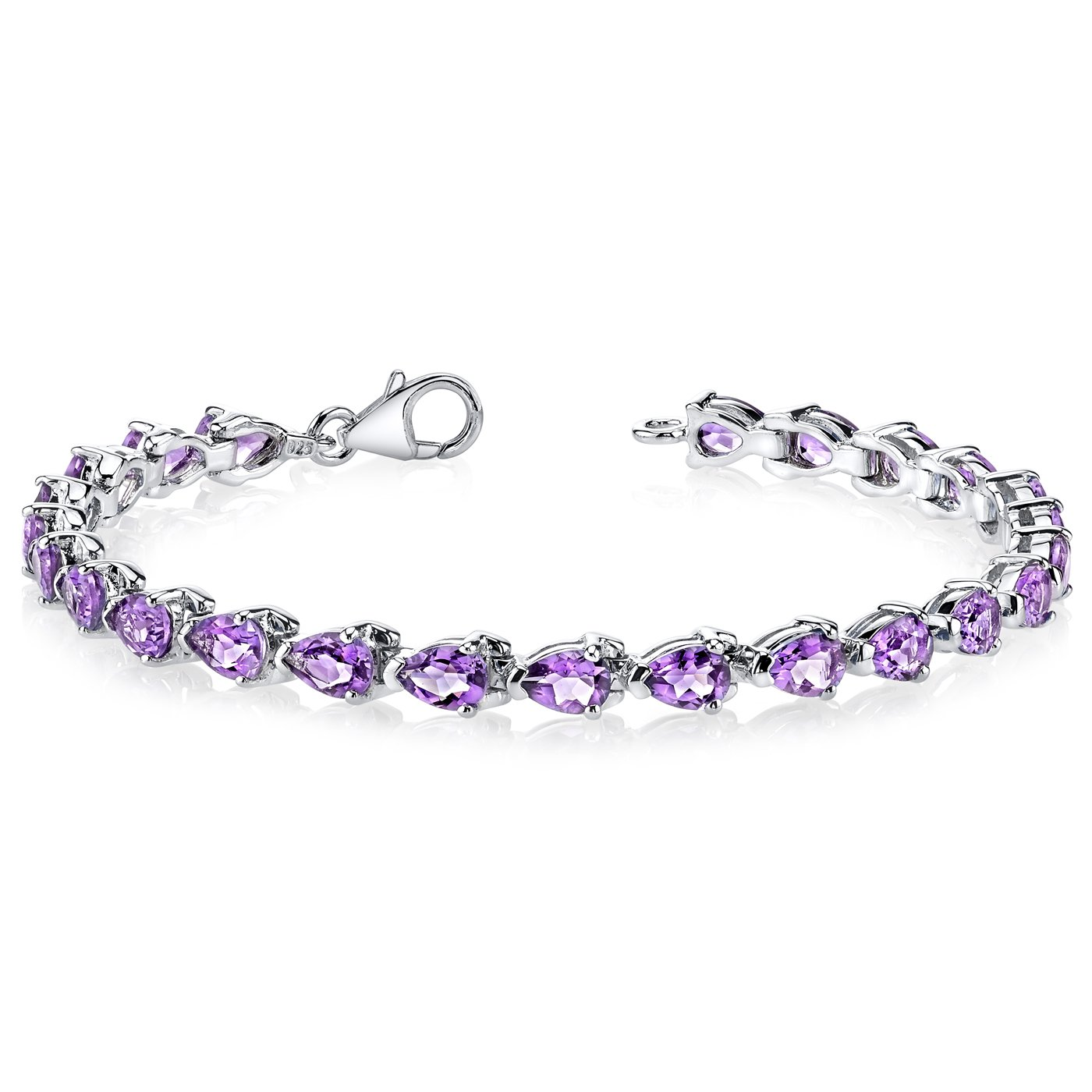 Amethyst Tennis Bracelet Sterling Silver Rhodium Nickel Finish 7.75 Carats Pear Shape