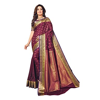 9870228909 Craftsvilla Women's Silk Blend Maroon Saree with contrast Traditional Pallu  and Unstitched Blouse Piece: Amazon.in: Clothing & Accessories