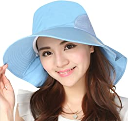 e6607360716bd4 JOYEBUY Women Wide Brim Sun Hats UV Protection Summer Beach Visor Cap